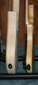 And not only is the Anne a wide bass, it's also a thick one. Here it is compared to one of my other basses.